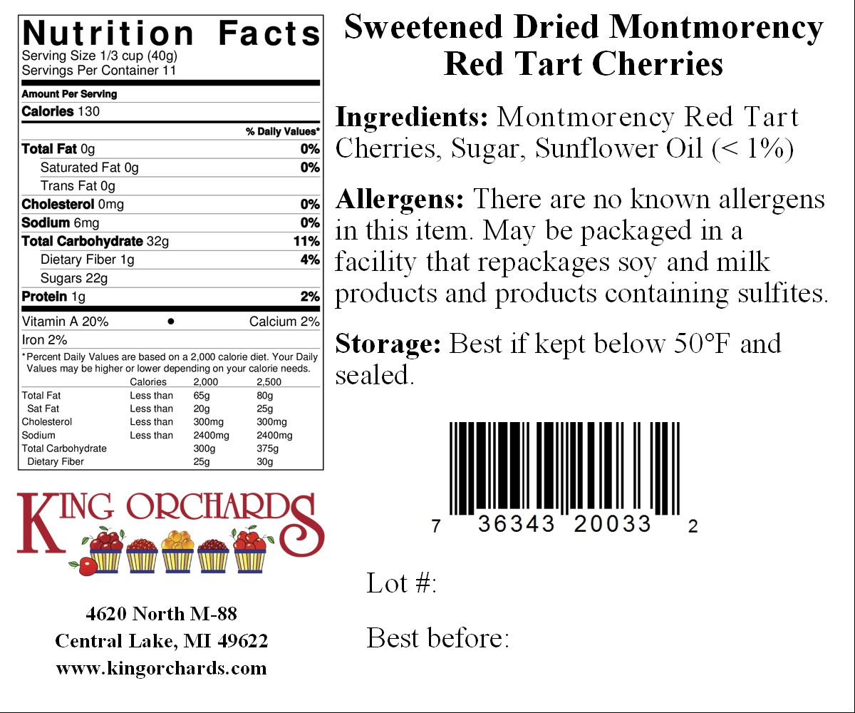 King Orchards | Product Nutritional Facts