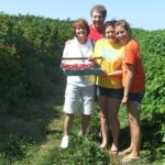 raspberry u-pick with family in the orchard near Traverse City in Northern Michigan